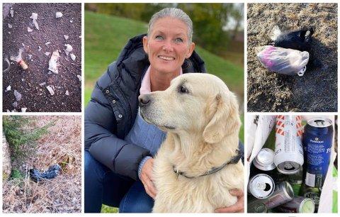 Monica Norli Hansen er selv hundeeier og har en klar oppfordring til andre hundeiere om å ta med seg posene med hundebæsj hjem fra marka. Her er bare noe av søppelet hun plukket i løpet av to turer i helgen.