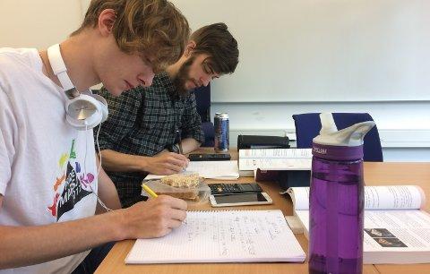 Gert Riisalu (til venstre) og Jo-Kenneth Faldahl er flittige med regnestykkene. De er på sin femte uke med sommerens forkurs nå.