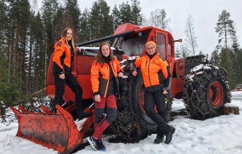 Britt Godtlund og Kvinner i Skogbruket heier på jenter som velger et yrke innen skogbruk, og har fått likestillingspris for det. Her er Britt (til høyre) sammen med elevene Tonje Myrén og Christian Anouk på skogfagslinja på Sønsterud.