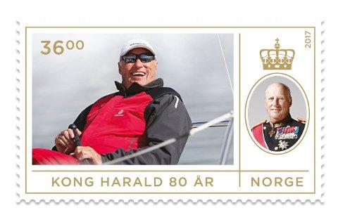 Både kong Harald V og dronning Sonja fyller 80 år i 2017. Posten feirer jubileene med å gi ut frimerker tirsdag 21. februar  på dagen for kongens fødselsdag. Foto: Posten / NTB scanpix