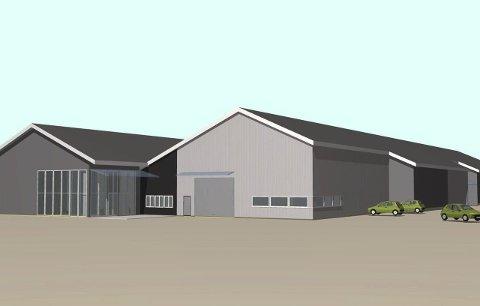 Fasade Vest: Slik vil det nye inngangspartiet med både butikk og trelastutsalg for Montér se ut. Illustrasjon: SG-arkitekter