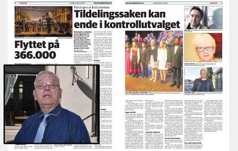 FIKK ANFALL: Sverre Stang (innfelt nede til venstre) reagerer på HAs sak om politikernes endringer av tildeling av kulturmidler. – Da jeg leste fredagens papirutgave av HA, fikk jeg et lettere anfall, skriver han.