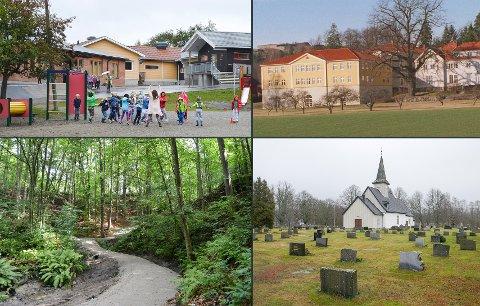 FRISKE MIDLER: Hjortsberg skole (øverst f.v.) får ny maling og belysning. På Halden vgs. avd. Risum (øverst t.h.) skal blant annet gatelys, vei og tak på idrettshall utbedres. I Schulzedalen (nederst t.v.) og Remmendalen blir det skilt og utbedring av turstier mens Idd kirke (nederst t.h.) og kapellet får midler til tak.