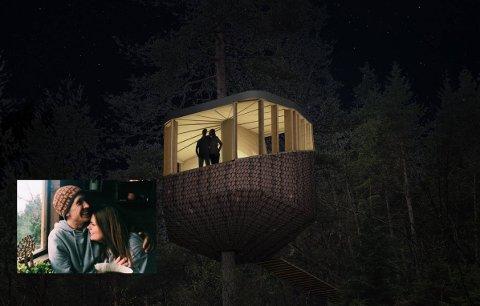 Sally og Kjartan Aano håpar å leva av å leiga ut trehytter til turistar.