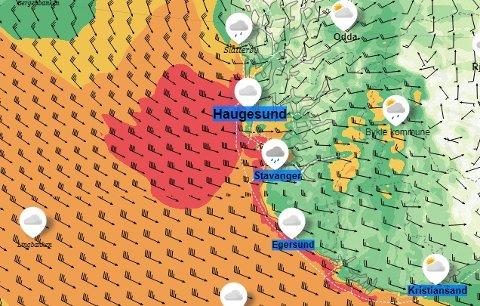 Slik ser vindkartet til Yr.no (Meteorologisk institutt) ut for tirsdag.