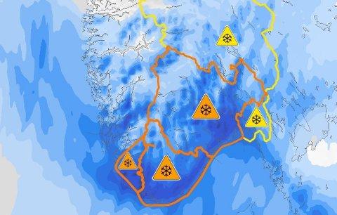 ORANSJE: Det er oransje farevarsel for Rogaland om svært mye snø onsdag ettermiddag.