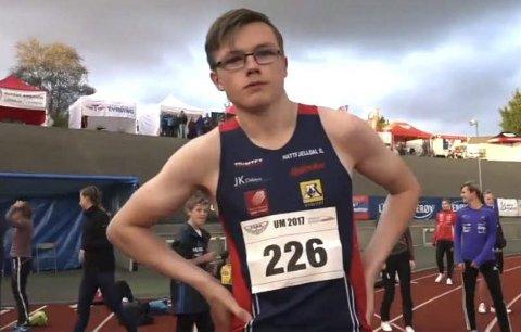 REKORD: Atle Skundberg løp meget godt på 60 meter innendørs i helga. Tida hans på 7,30 er best i landet i hans årsklasse. Bildet er fra UM friidrett 2017 i Fana der han tok 3. plassen på 100m i G16.