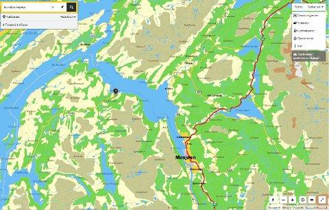 På kartet over Mosjøen fra gule sider ser vi at Hundåla er ei vik lenger ut i fjorden enn plassert på Visit Helgeland sitt kart, blant annet.