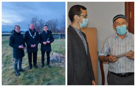 JORDKAPSEL: Fra venstre Peter-Arne Talseth som overekker kapselen til Talgat Zhumagulov.   Talgat Zhumagulov gir kapselen til den Kasakhstanske familien.