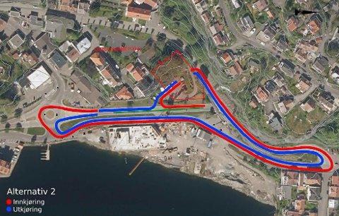 """Slik blir """"Alternativ B"""", som kommunedirektøren innstilte på, skissert. Her ser man inn- og utkjøring fra Gamle Kragerøvei."""