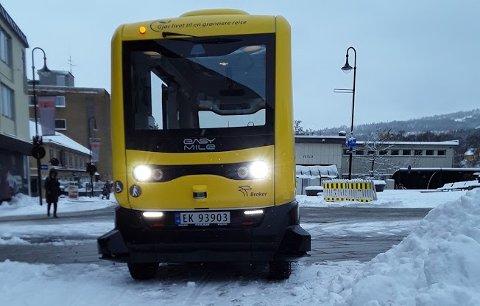 SNØ: Det var knyttet spenning til hvordan den autonome bussen ville fungere på vinterføre.