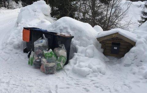 SØPPEL: Utenfor søppelkassene til Åshild Steen i Passebekk var det mandag dumpet flere søppelsekker med andres søppel.