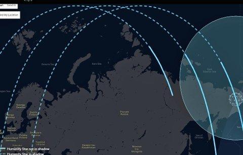 The Humanity Star har i dag ikke vært i nærheten av Norge. Den lå i vår del av verden i tillegg i skygge. Screenshot tatt klokken 21.