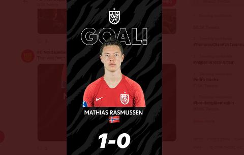 SCORET: Mathias Rasmussen scoret og FCN vant 3–1.