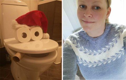 SPRELL: Hjemme hos Trine Roos og co. flytter det inn en tullenisse hvert år som finner på artige sprell for å skape juleglede hos barna. Her har han pyntet toalettet.