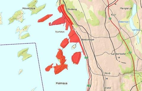 BERØRT OMRÅDE: Bor du i de røde områdene anbefalesdu å koke vannet. Kart: Oslo kommune/Vann- og avløpsetaten