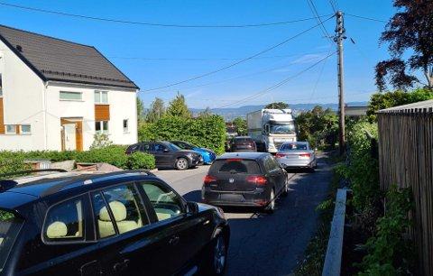 Trafikkutfordringer i Cappelens vei onsdag morgen denne uken.