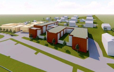 Illustrasjon: Av et nybygg nord for NGLMS på Otta. (NGLMS og Sel rådhus vises som gule bygninger til venstre på illustrasjonen.  Illustrasjon: Norconsult.