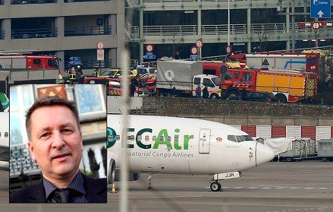 EKSPLOSJONER: To eksplosjoner rammet tirsdag morgen Brussel lufthavn Zaventem. Trond Haukanes (innfelt) er direktør ved Nord-Norge-kontoret i den belgiske hovedstaden, men var i likhet med de andre ansatte på kontoret på påskeferie da hendelsene inntraff.