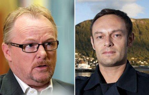 I KLINSJ: Fiskeriminister Per Sandberg og SVs fiskeripolitiske talsmann Torbjørn Knag Fylkesnes.