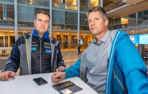 REKRUTTERING: Kåre Huglen, styreleder i Tromsø skiskytterlag (t.v) sier de har merket nedgang i rekrutteringen etter byggeskandalen på Templarheimen. Styreleder i Tromsø skiklubb, Frode Hjort-Larsen til høyre i bildet.