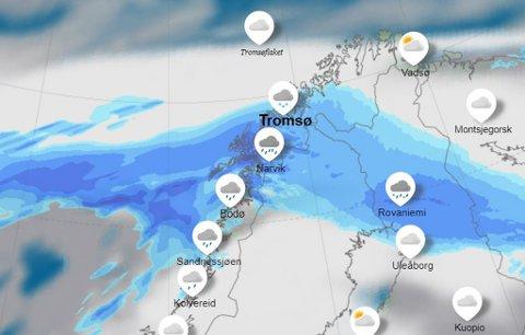 SNØ OG SLUDD: En lavtrykks-front fra sør vil føre til sludd og snø i Troms og Tromsø.  Fronten er imidlertid forbigående og allerede fredag vil det bli opplett igjen.