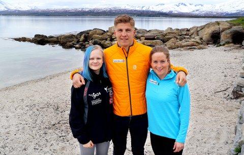 STOR STØTTE: Disse tre utøverne fra Troms har mottatt 150.000 kroner hver i et nytt stipend fra Sparebanken Nord-Norge. F.v. Alexandra Divina (Tromsø Kampsportklubb, kickboksing), Erik Valnes (sprintlandslaget, langrenn) og Anna Svendsen (elitelandslaget, langrenn).