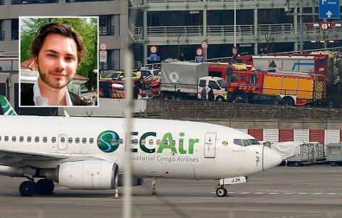 Jo Roald Eikeland fra Larvik )innfeldt) var på flyplasse i Brussel i går
