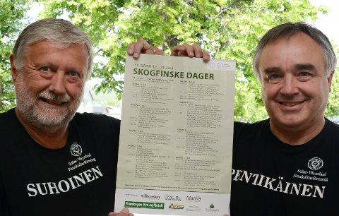 TROR PÅ DETTE: Kjetil Dammen, til venstre, og JAn Myhrvold i Solør-Värmland finnekulturforening tror på de nye Skogfinske dagene som skal arrangeres for første gang i juli.