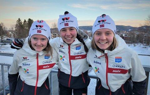 LANDSLAGSJENTER: Gyda Westvold Hansen, Mari Leinan Lund og Marte Leinan Lund er alle fra Nord-Østerdal og alle på landslaget i kombinert.