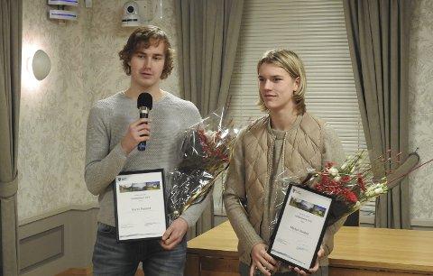 TAKKET: Martin Polland og Markus Vonstett takket foreldrene og alle trenerne som har fulgt dem så langt i karrieren.