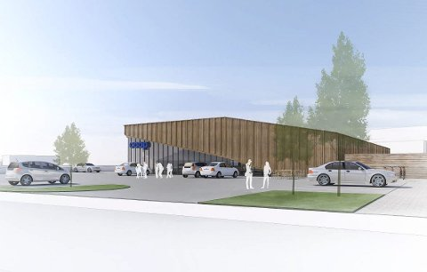 Arkitektenes tegning av ny Coop-butikk i Hovenga. Butikken får en størrelse på 1,2 mål.