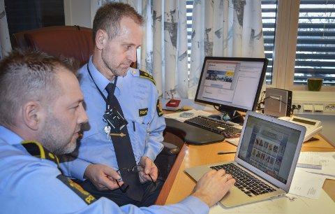 Følger med: Alf-Espen Eriksen (t.v.) og Roald Bjerkadal prøver å holde oversikt over de prostiturte som er i byen.