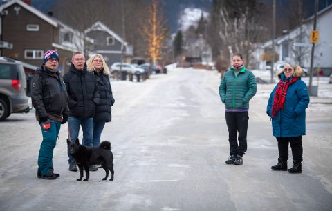 F.v.: Terje Hilstad, Rune Hafsmo, May Britt Fallingen, Marie Therese Søfting og Liv Ingeborg Leonhardsen liker ikke at det kjøres mye og fort i Grannesveien på Ytteren.