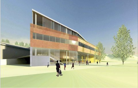 Denne skissen viser hvordan adkomsten til Høgskolen blir etter byggearbeidene som planlegges. Denne delen av utbyggingen vil koste ca. 200 millioner kroner.