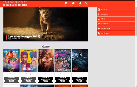 ENKEL MENY: Menystrukturen på nettsida gjør det enkelt å finne fram på Rjukan Kinos nye nettside.