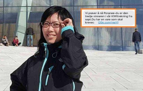 IKKE LETTLURT: Poranee Larsen lot seg ikke lure av svindelforsøket hun fikk på SMS (innfelt).