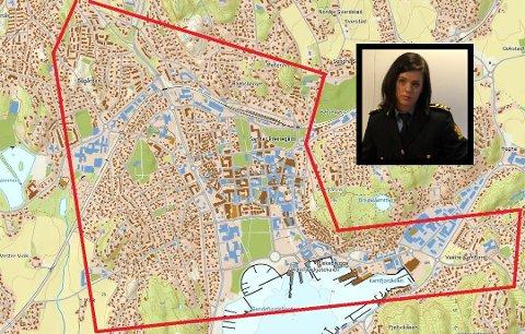 MYE VIDEO: Politiet har samlet inn videomateriale fra Sandefjord sentrum i forbindelse med drapet på Thea Halvorsen Braavold. Det kommer til å ta tid å gå igjennom alt, sier politijurist Ann Eline Rimstad Johansen (innfelt).