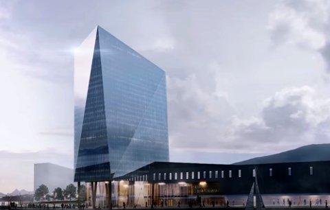 Dette er en illustrasjon av «Den blå diamant» som er tenkt bygd i Sortland.