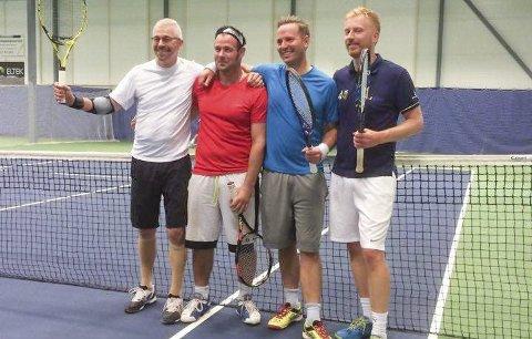 DOUBLE HERRER: Det var disse fire som kjempet om doubletittelen. F.v. Stig-Gunnar Jensen, Morten Aron Berg, Frode Lyngar og Anders Møller. Foto Svelvik Tennisklubb