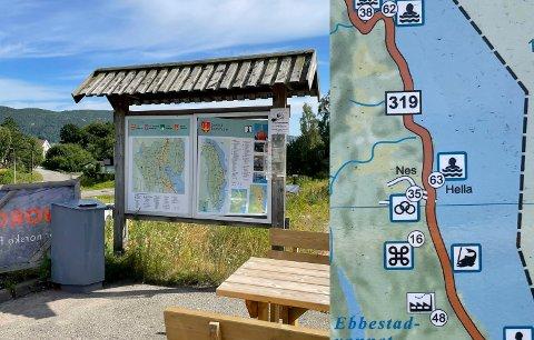 På slike turistkart rundt i Svelvik står Hella oppført som offentlig badeplass.