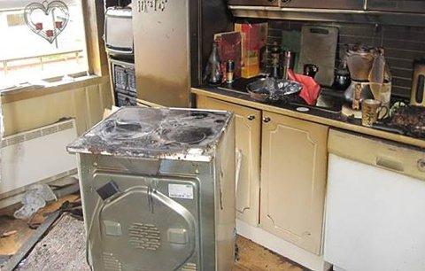 Husk kjøkkenvett på nyttårsaften. Dette kjøkkenet ble totalskadet i brann. Foto: Frende/ANB