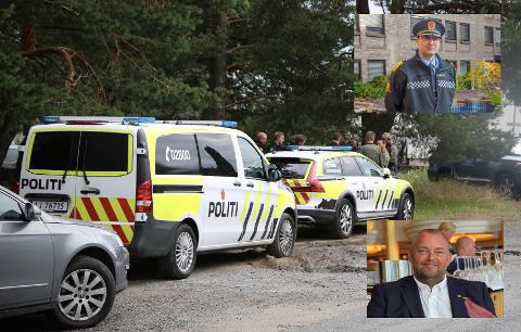 UNDERSKUDD: Sør-Øst politidistrikt har spart penger på budsjettet ved å holde stillinger tomme, men nå oppbemanner de for å nå det politiske målet om politidekning. Politimester Ole B. Sæverud (øverst innfelt) og leder for Politiets Fellesforbund i Sør-Øst politidistrikt, Jon E. Torp.