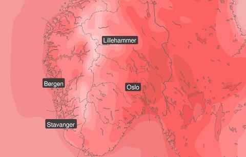 Skjermdump: Meteorologisk institutt
