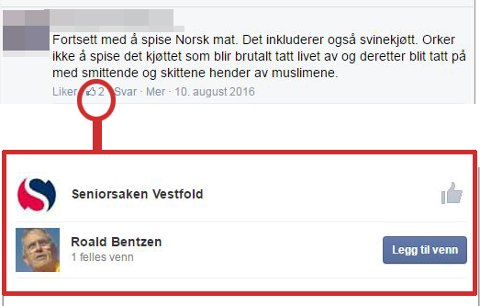 LIKER: Både Seniorsaken Vestfold og Roald Bentzen har trykket liker på dette innlegget på organisasjonens Facebooksider. Montasje: Henrik Ulrichsen