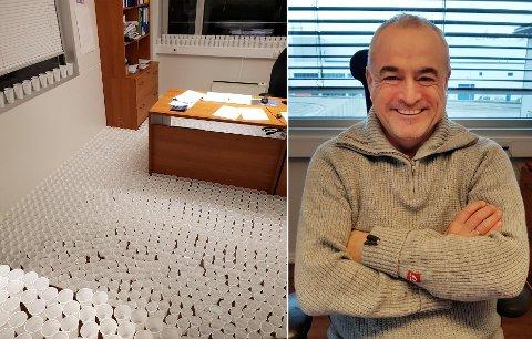 John-Inge Landro ble utsatt for «vannbanditter» som plasserte ut 3000 kopper med vann på kontoret hans. Han fanget de mistenkte på overvåkningskamera.