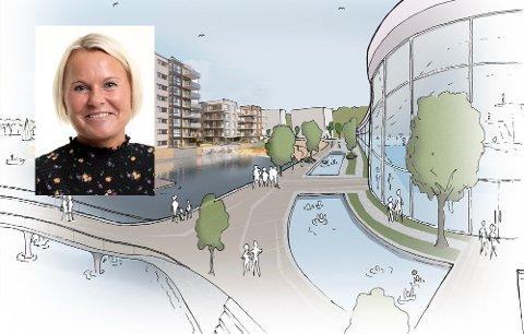 VIL VITE MER: Heidi Skjeggerød i Tønsberg Næringsforening (innfelt) ønsker ikke å flagge noe standpunkt til ny svømmehall ennå. Illustrasjonen viser hvordan et nytt badeland ved Kaldnes kunne blitt seende ut.