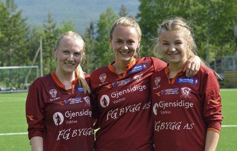 Trio: Målscorerne Ingrid Kirkeengen Skrindsrud (f.v.), Anja Kampen Hamre (2) og Marte Opheim.FOTO: Bjørn Strand
