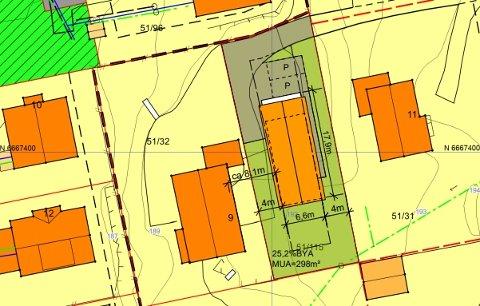 KUN PÅ TEGNEBRETTET: Situasjonsplan for huset på Fuglåsen, et hus formannskapet mener vil ta for stor plass.