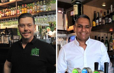 BLITT FOR DYRT: Både Martin Ringlander (t.v.) i Krutt Gastropub og Rajender Singh i Hagan Cafe sier at de nå finner liten lønnsomhet i å vise fotballkamper for gjestene.